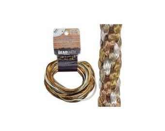 2mm Satin Rattail Round Cording Warm Neutrals Mixture 29280 (12 yards) Round Brown Tans