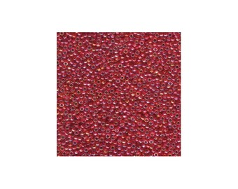 Miyuki Seed Beads 8/0 Silver-Lined Flame Red AB 8-1010 22g Tube, Glass Seed Beads Size 8