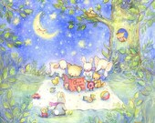 Baby's Room Print, 11 X 14, XL, Glicee, Bear Reading, Nursery Art unsigned
