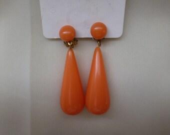 vintage orange clip on teardrop earrings. signed W. Germany