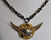 Unisex mixed metal necklace wings eagle watch gear heavy chain one of a kind unisex made in Michigan