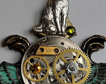 recycled steampunk mixed metal necklace cat, wings, watch parts, gears artist created in Michigan
