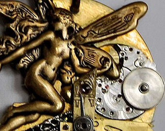 Fairy fay pendant necklace victorian steampunk faerie  vintage watch parts gears  artist created in Michigan