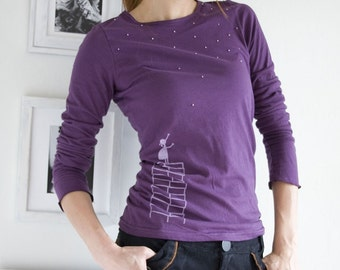 Gift for the grad, Unique womens t shirt, Deep purple t shirt, Applique t shirt, Graphic tees, unique fashion - A Little Girl's Wishes