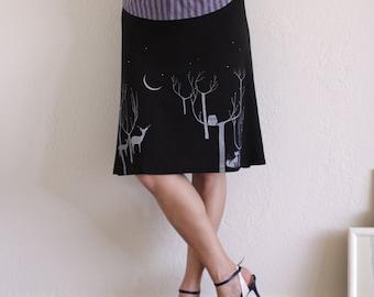 Lovely Skirts for Women, Black Knee Length Skirt, Handmade a-line skirt, Pull on skirts Woman Midi skirt - Lovely Neighbors From the Woods