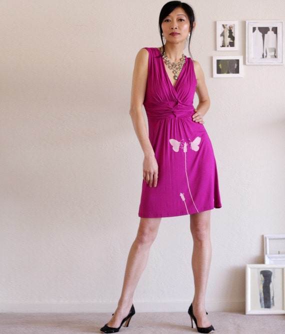 Holiday Sale - hot pink party dress . Bridesmaid dress - Butterfly's office affair