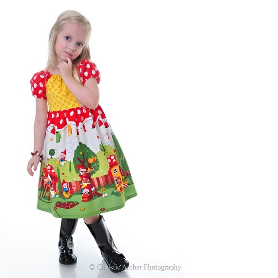 Gnomeville Sunny Patch DRESS by VALERIYA-  Available Sizes 24 months -5