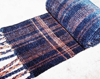 Handwoven Rayon Chenille Scarf, Chenille Scarf, Woven Scarf,  Woven Chenille Scarf, Chenille, Teal and Salmon Scarf (#10-07)