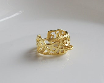 1pc- Matte Gold Plated two loops filigree  Ring BAse-15mm (010-031GP)