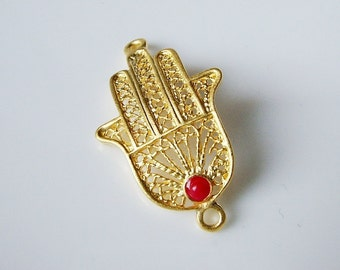 1pc- Matte Gold plated Hand of Hamsa with red jade connector- 36x21mm (007-015GP)