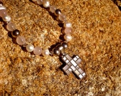 Rose Quartz with MOTHER of PEARL CROSS Necklace
