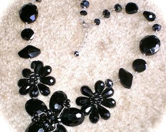 BLACK FLORAL Bib  NECKLACE