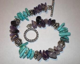 AMETHYST TURQUOISE SILVER Gemstone Bracelet