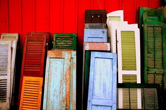 Vintage Shutters Fine Art Photography - Antique Wooden Shutters in Red Green Teal Orange Sky Blue