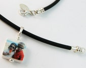 Black Rubber Cord Necklace with Mini Custom Photo Pendant - NC4