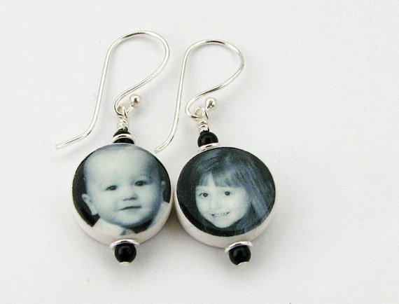 Custom Round Photo Charm Earrings on Sterling Ear Wires - C8E
