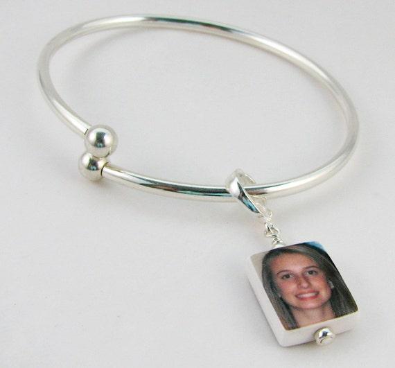 Sterling Silver Flex Bangle Bracelet with Custom Photo Charm - Small - P3B4