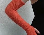 Orange Arm Warmers Gloves wrist Warmers Pure Merino Fresh Carrot Mittens Fingerless Gloves