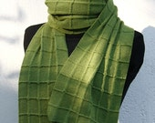 Green Plaid Scarf Long Unisex Spring Scarf Neckwear Merino Blend Check Spring Green Knitted Warm and Soft