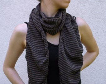 Merino Scarf Charcoal and Brown Stripes Slouchy Fashion Dark Gray and Brown Striped Scarf
