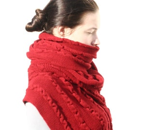 Red Wrap Red Shawl Knitted Cover-up Merino Wool Shawl Woolen Women Gift Warm Shawl Mother's Day Gift Chale en laine Schal