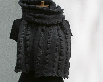 Shawl Chunky Scarf Charcoal  Wrap Oversized Merino Mother's Day Christmas Gift Wool Winter Fashion Perfect Gift