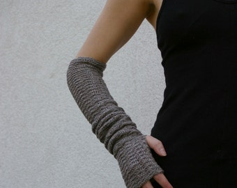 Taupe Arm Warmers Zigzac style Mittens Fingerless Gloves Merino Wool