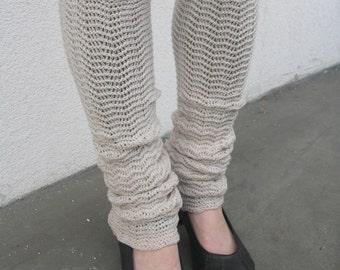 Beige Leg Warmers Pure Merino Knitted Legwear