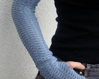 Fingerless Gloves Mitaines Mittens Arm Warmers Cloudy Sky Merino Wool Wollen
