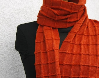 Orange Check Scarf pure merino roast orange Rusted Orange shawl echarpe en laine vierge merino