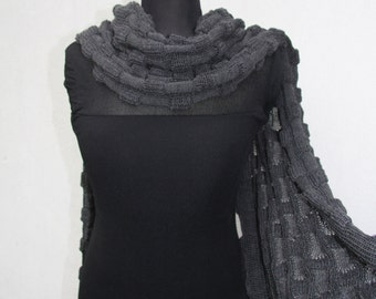 Merino Wrap Dark Gray Women's Shawl Chale Mother's Day Gift Cape Stole soft wool modern schal chale en laine merino wolle Gift for Her