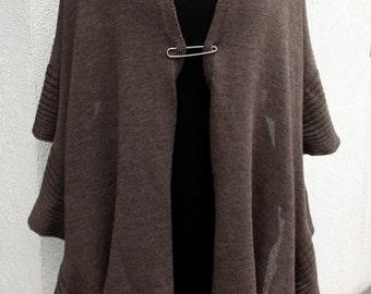 Brown Merino Wrap Knitted Taupe Shawl Pure Merino Shawl SCarf Echarpe Christmas Gif Birthday Gift Woman Fashion Chale Schal Laine