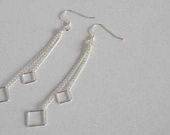 Delicate minimal geometric silver square dangle earrings