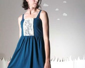 Flirty dress cotton jersey lace embroidered empire blue medium DEAR DARLING
