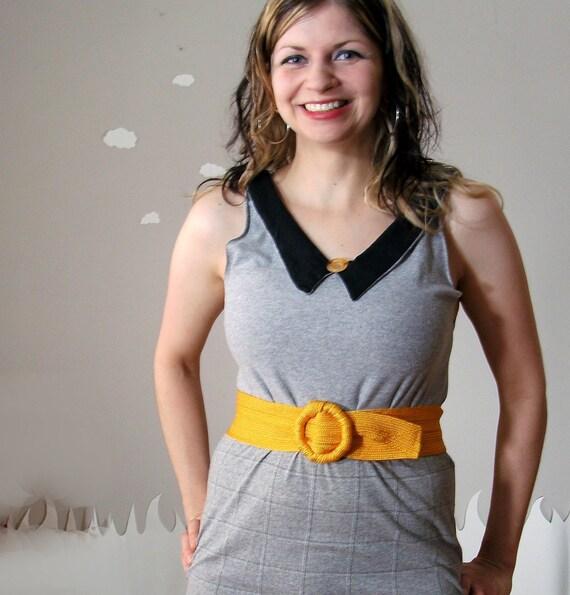Peter pan collar dress eco friendly handmade medium AWAY IN GRAY