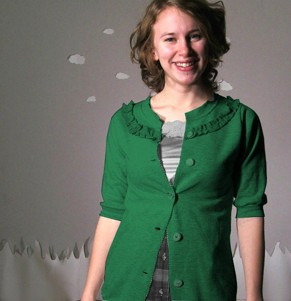 Eco friendly sweatshirt cardigan handmade green custom SUGAR FREE