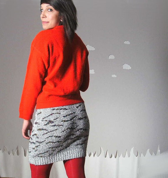 Spring Fling Sale! Eco skirt knit sweater fitted eighties warm small COSBY SKIRT