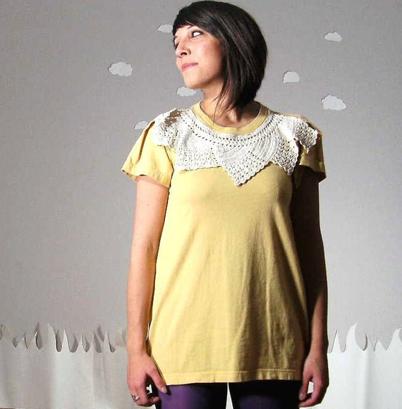 Upcycled dress soft cotton crochet lace collar oversized small MELLOW YELLOW