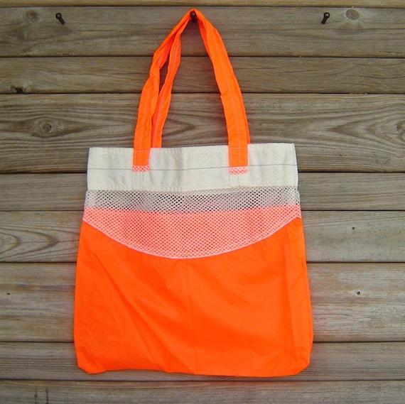 Repurposed Neon Orange Katana Parachute Slider Medium Tote Bag