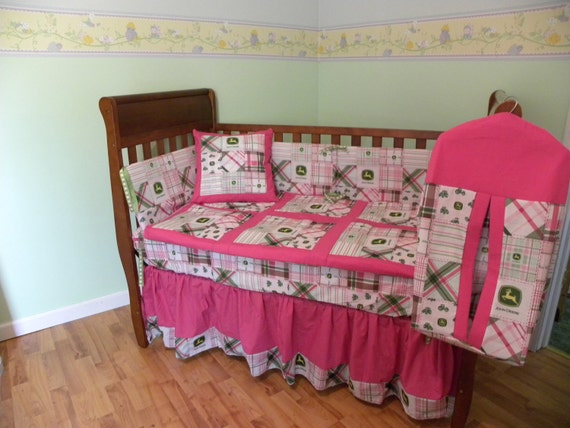 Pink John Deere Kids Crib Nursery Set Custom Made FREE