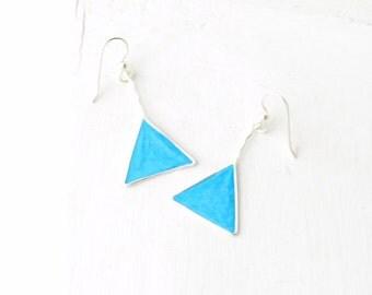 Triangle Earrings, Geometric Jewelry, Sky Blue Earrings, Electric Blue
