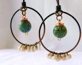 Puka Shell & Jade Copper Hoop Earrings - Rustic - Bohemian - stoneandbone - Tribal
