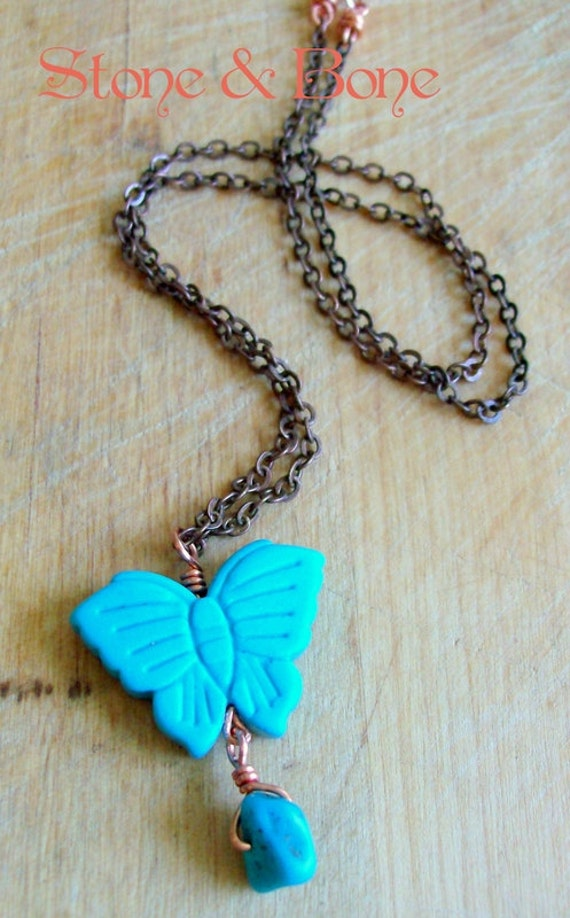 Butterfly Turquoise & Copper Necklace - Bohemian Jewelry - Rustic - stoneandbone - Insect