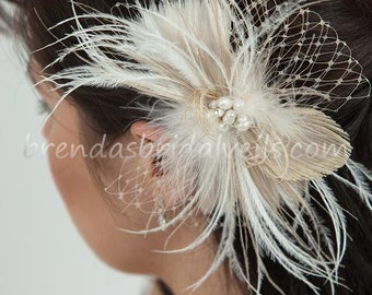 Champagne and Ivory Feather Peacock Birdcage Fascinator with Fresh Water Pearl and Rhinestone Center - Calissa