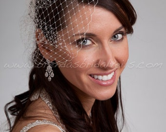 "Mini Birdcage Veil, 7"" Bridal Veil, Wedding Veil - Available In A Wide Range Of Colors"