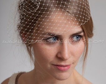 "Bridal Birdcage Veil, 9"" Short Blusher Veil, Wedding Veil"