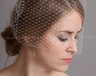 "Birdcage Veil 12"" Blusher Veil, Bridal Veil, Wedding Veil, White, Diamond White, Ivory, Black"