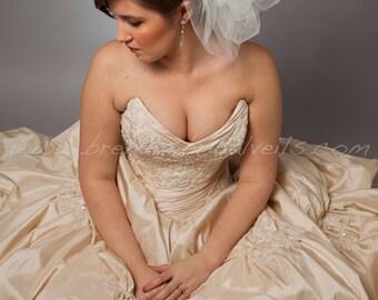 Illusion Tulle Bridal Bubble Pouf - White, Diamond White, Ivory, Champagne, Matte, Sparkle