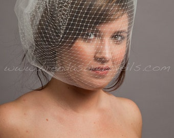 Double Layer Birdcage Bridal Veil, Wedding Veil,  Illusion Tulle and Russian Netting - Tabitha