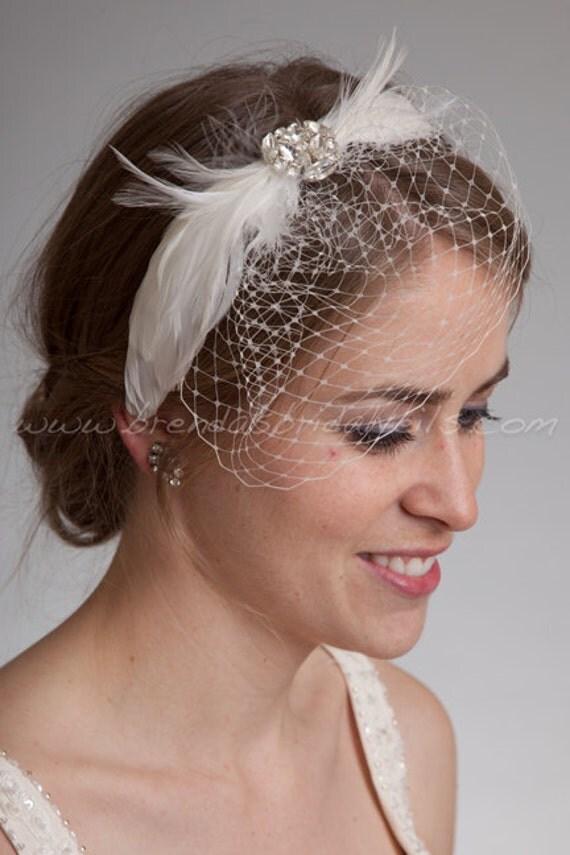 bridal birdcage headband mini veil with feather rhinestone